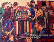 """THIS CLASSIC VINTAGE WURLIZTER TIN SIGN HAS SUPER COLOR AND GREAT DETAILS. IT IS OUT OF PRINT AND WE HAVE ONLY ONE LEFT. IT MEASURES APOX. 16"""" W X 12 1/2"""" H AND HAS HOLES IN EACH CORNER FOR EASY MOUNTING"""