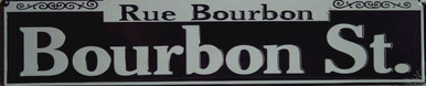 "BLACK AND WHITE BOURBON STREET, STREET SIGN MEASURES 24"" W X 5"" H AND HAS HOLES FOR EASY MOUNTING"