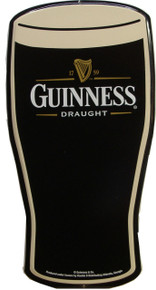 "THIS SIGN IS CUT TO THE SHAPE OF A GUINNESS PINT GLASS, GREAT GRAPHICS & DESIGN IT MEASURES APOX. 18"" H X 9"" W AND HAS HOLES FOR EASY MOUNTING, A MUST FOR ANY GUINNESS FAN'S COLLECTION"