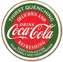 """THIS VINTAGE ROUND METAL COKE SIGN HAS HOLES FOR EASY MOUNTING AND MEASURES 12"""" DIAMETER AND HAS GENUINE SIMULATED RUST TO MAKE IT LOOK OLDER"""