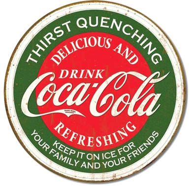 "THIS VINTAGE ROUND METAL COKE SIGN HAS HOLES FOR EASY MOUNTING AND MEASURES 12"" DIAMETER AND HAS GENUINE SIMULATED RUST TO MAKE IT LOOK OLDER"