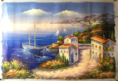 Photo of BLUE BOAT BY VILLA MEDIUM LARGE SIZED OIL PAINTING