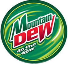"""ROUND RETRO MOUNTAIN DEW SIGN WITH HOLES FOR EASY MOUNTING MEASURES 12"""" DIAMETER"""
