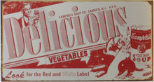 """GREAT CAMPBELLS DELICIOUS VINTAGE SOUP LABLE TIN SIGN MEASURES 16"""" W X 10"""" H AND HAS HOLES IN EACH CORNER FOR EASY MOUNTING  THIS SIGN IS OUT OF PRINT, WE HAVE FOUR LEFT"""