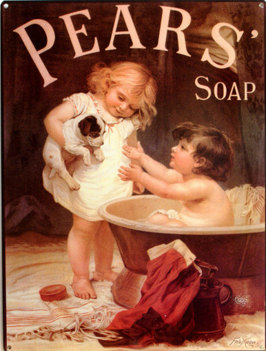 This is an example of an Enamel sign with deep rich color and great details, this particular sign is available under the Category Misceleanous Signs, sub category Soap Make-Up and Meds.