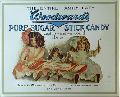 WOODWARD STICK CANDY VINTAGE TIN SIGN  (3)  THE THREE IN (3) REPRESENTS THE NUMBER OF THIS PARTICULAR SIGN STILL IN STOCK.  THIS SIGN AND OTHER CANDY SIGNS CAN BE FOUND UNDER THE CATEGORY FOOD & BEVERAGES, SUB CATEGORY FOOD, SNACKS AND SUCH.  ONCE THESE THREE SIGNS ARE SOLD THEY WILL NO LONGER BE AVAILABLE.