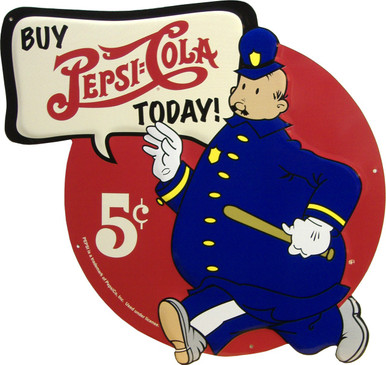 """THIS UNIQUE DIE CUT VINTAGE PEPSI METAL SIGN IS A GREAT CHOICE FOR ANY COLLECTOR, THIS SIGN MEASURES 13"""" X 15""""  I BELIEVE THIS TO BE AN EARLY 50'S AD CAMPAIGN CHARACTER."""