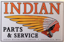 OLD TIME INDIAN MOTORCYCLE VINTAGE PARTS & SERVICE SIGN HAS HOLES IN EACH CORNER FOR EASY MOUNTING.  THIS SIGN IS OUT OF PRINT WITH ONLY TWO LEFT.
