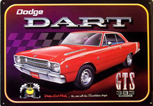 """RED DODGE DART GTS VINTAGE TIN SIGN MEASURES 16 14"""" W X 11 3/4"""" H WITH HOLES IN EACH CORNER FOR EASY MOUNTING"""