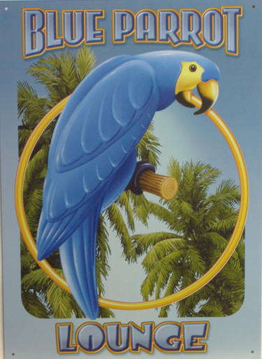 BLUE PARROT LOUNGE SIGN HAS GREAT COLORS AND DETAIL FOR THE PARROT LOVER OR LOUNGE LIZARD