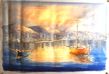 Photo of BOATS AT SUNSET OIL PAINTING