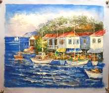 Photo of BOATS BY TOWN MEDIUM SIZED OIL PAINTING