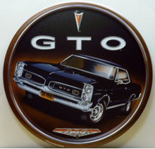 """12"""" DIAMETER VINTAGE GTO SIGN HAS GREAT GRAPHICS & COLOR"""