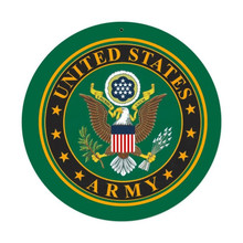 """THIS ROUND HEAVY METAL VINTAGE ARMY SIGN MEASURES 14"""" IN DIAMETER, IT HAS HOLE(S) FOR EASY MOUNTING. THIS IS A SPECIAL ORDER SIGN, NORMALLY IT TAKES 2-3 WEEKS FOR DELIVERY."""