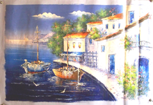 Photo of BOATS BY VILLA MEDIUM LARGE SIZED OIL PAINTING