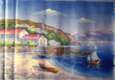 Photo of BOATS ON BEACH AND ONE SAILING MEDIUM  SIZED OIL PAINTING