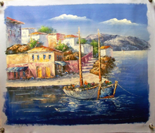 Photo of BOATS W/FLOWERS BY TOWN OIL PAINTING