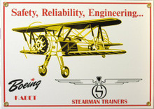 Photo of BOEING STEARMAN PORCELAIN SIGN, WITH A BI-PLANE FOR IT'S ADVERTISEMENT