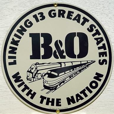 Photo of B & O RR PORCELAIN TRAIN SIGN CRISP COLOR AND GREAT RAILROAD DETAIL