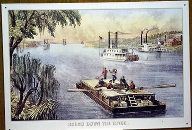 Photo of BOUND DOWN THE RIVER METAL SIGN AS THE BOAT IS TAKEN DOWNSTREAM BY THE CURRENT