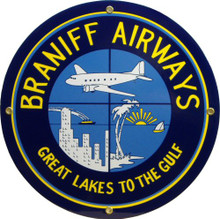 Photo of BRANIFF AIRLINES PORCELAIN SIGN WITH GREAT COLOR AND ATTENTION TO DETAIL