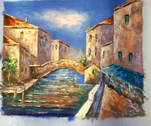 Photo of BRIDGE OVER CANAL SMALL SIZED OIL PAINTING