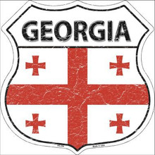 """COUNTRY FLAG HIGHWAY SHIELD, CRACKLE PAINT,  FOR A WEATHERED LOOK, ON FLAT ALUMINUM METAL SIGN  12"""" X 12"""" COLLECT EACH COUNTRY YOU LIKE OR HAVE VISITED!   THIS IS A SPECIAL ORDER SIGN IT NORMALY TAKES 3-4 WEEKS FOR DELIVERY If you are ordering from outside the U.S. consider  asking your friends to order signs also, it is less expensive for extra signs than for the first sign, split the shipping cost, it makes ordering more affordable. Actually, the same is true for Domestic shipping as well."""