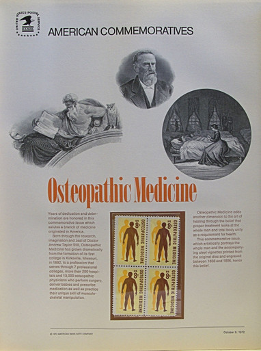 """PANEL #3, U.S. COMMERATIVE PANE OSTEOPATHIC MEDICINE …, ISSUED 10/9/1972 SCOTT # 1469, PRINTED ON HEAVY PAPER,  MEASURING 8  1/2""""  X  11  1/4"""" WITH 4 UNUSED 8 CENT STAMPS  PANELS ISSUED BY U.S. BUREAU OF ENGRAVING REPRESENT MANY HISTORICAL EVENTS IN OUR COUNTRY PLUS CULTURAL, WILDLIFE, FLORAL, MUSICAL, MOVIES AND COUNTLESS OTHER SUBJECTS, GREAT FOR COLLECTORS AND ENTHUSIAST OF A WIDE VARIETY OF INTEREST. GREAT TO FRAME FOR GIFTS! UP TO A DOZEN CAN BE SHIPPED USING PRIORITY MAIL FLAT RATE ENVELOPE, FOR THE PRICE OF ONE (REFUND GIVEN AFTER PANELS ARE SHIPPED TAKES 3-4 DAYS FOR REFUND TO REACH YOUR CARD) OR YOU CAN SEND ONE OR MORE, FIRST CLASS (NOT INSURED) FOR LESS, YOUR CHOICE."""