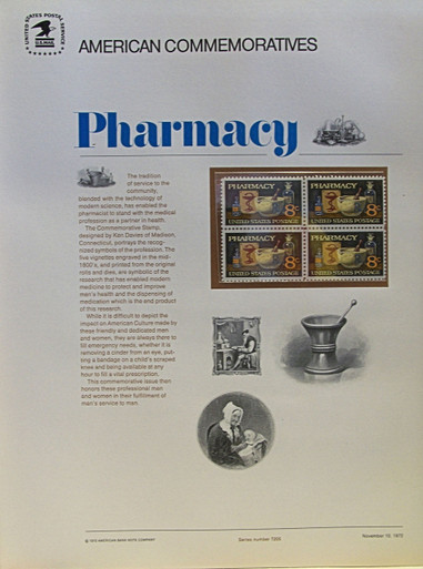 """PANEL # 5, U.S. COMMERATIVE PANEL PHARMACY …, ISSUED 11/10/1972 SCOTT # 1470, PRINTED ON HEAVY PAPER,  MEASURING 8  1/2""""  X  11  1/4"""" WITH 4 UNUSED PHARMACY 8 CENT STAMPS  PANELS ISSUED BY U.S. BUREAU OF ENGRAVING REPRESENT MANY HISTORICAL EVENTS IN OUR COUNTRY PLUS CULTURAL, WILDLIFE, FLORAL, MUSICAL, MOVIES AND COUNTLESS OTHER SUBJECTS, GREAT FOR COLLECTORS AND ENTHUSIAST OF A WIDE VARIETY OF INTEREST. GREAT TO FRAME FOR GIFTS! UP TO A DOZEN CAN BE SHIPPED USING PRIORITY MAIL FLAT RATE ENVELOPE, FOR THE PRICE OF ONE (REFUND GIVEN AFTER PANELS ARE SHIPPED TAKES 3-4 DAYS FOR REFUND TO REACH YOUR CARD)"""