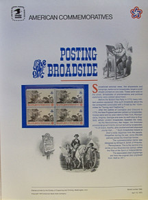 """PANEL # 12, U.S. COMMERATIVE PANEL POSTING A BROADSIDE, ISSUED 4/13/1973 SCOTT # 1477, PRINTED ON HEAVY PAPER MEASURING 8  1/2""""  X  11  1/4"""" WITH 4 UNUSED POSTING BROADSIDE, 8 CENT STAMPS  PANELS ISSUED BY U.S. BUREAU OF ENGRAVING REPRESENT MANY HISTORICAL EVENTS IN OUR COUNTRY PLUS CULTURAL, WILDLIFE, FLORAL, MUSICAL, MOVIES AND COUNTLESS OTHER SUBJECTS, GREAT FOR  COLLECTORS AND ENTHUSIAST OF A WIDE VARIETY OF INTEREST. GREAT TO FRAME FOR GIFTS! UP TO A DOZEN CAN BE SHIPPED USING PRIORITY MAIL FLAT RATE ENVELOPE, FOR THE PRICE OF ONE (REFUND GIVEN AFTER PANELS ARE SHIPPED TAKES 3-4 DAYS FOR REFUND TO REACH YOUR CARD) OR YOU CAN SEND ONE OR MORE, FIRST CLASS (NOT INSURED) FOR LESS, YOUR CHOICE."""
