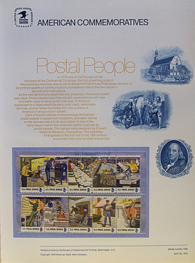 "PANEL # 14, U.S. COMMERATIVE PANEL POSTAL EMPLOYEES.., ISSUED 4/30/1973 SCOTT # 1489-1498, PRINTED ON HEAVY PAPER MEASURING 8  1/2""  X  11  1/4"" WITH 10 DIFFERENT UNUSED POSTAL EMPLOYEES, 8 CENT STAMPS  PANELS ISSUED BY U.S. BUREAU OF ENGRAVING REPRESENT MANY HISTORICAL EVENTS IN OUR COUNTRY PLUS CULTURAL, WILDLIFE, FLORAL, MUSICAL, MOVIES AND COUNTLESS OTHER SUBJECTS, GREAT FOR  COLLECTORS AND ENTHUSIAST OF A WIDE VARIETY OF INTEREST.  GREAT TO FRAME FOR GIFTS! UP TO A DOZEN CAN BE SHIPPED USING PRIORITY MAIL FLAT RATE ENVELOPE, FOR THE PRICE OF ONE (REFUND GIVEN AFTER PANELS ARE SHIPPED TAKES 3-4 DAYS FOR REFUND TO REACH YOUR CARD) OR YOU CAN SEND ONE OR MORE, FIRST CLASS (NOT INSURED) FOR LESS, YOUR CHOICE."