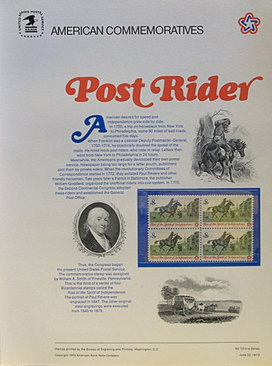 """PANEL # 16, U.S. COMMERATIVE PANEL POSTRIDER.., ISSUED 6/22/1973 SCOTT # 1478, PRINTED ON HEAVY PAPER MEASURING 8  1/2""""  X  11  1/4"""" WITH 4 UNUSED POST RIDER, 8 CENT STAMPS  PANELS ISSUED BY U.S. BUREAU OF ENGRAVING REPRESENT MANY HISTORICAL EVENTS IN OUR COUNTRY PLUS CULTURAL, WILDLIFE, FLORAL, MUSICAL, MOVIES AND COUNTLESS OTHER SUBJECTS, GREAT FOR  COLLECTORS AND ENTHUSIAST OF A WIDE VARIETY OF INTEREST. GREAT TO FRAME FOR GIFTS! UP TO A DOZEN CAN BE SHIPPED USING PRIORITY MAIL FLAT RATE ENVELOPE, FOR THE PRICE OF ONE (REFUND GIVEN AFTER PANELS ARE SHIPPED TAKES 3-4 DAYS FOR REFUND TO REACH YOUR CARD) OR YOU CAN SEND ONE OR MORE, FIRST CLASS (NOT INSURED) FOR LESS, YOUR CHOICE."""
