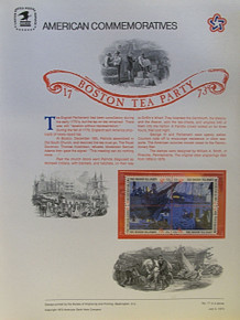 "PANEL # 17, U.S. COMMERATIVE PANEL BOSTON TEA PARTY.., ISSUED 7/4/1973 SCOTT # 1483a, PRINTED ON HEAVY PAPER MEASURING 8  1/2""  X  11  1/4"" WITH 4 DIFFERENT UNUSED BOSTON TEA PARTY, 8 CENT STAMPS  PANELS ISSUED BY U.S. BUREAU OF ENGRAVING REPRESENT MANY HISTORICAL EVENTS IN OUR COUNTRY PLUS CULTURAL, WILDLIFE, FLORAL, MUSICAL, MOVIES AND COUNTLESS OTHER SUBJECTS, GREAT FOR  COLLECTORS AND ENTHUSIAST OF A WIDE VARIETY OF INTEREST.  GREAT TO FRAME FOR GIFTS! UP TO A DOZEN CAN BE SHIPPED USING PRIORITY MAIL FLAT RATE ENVELOPE, FOR THE PRICE OF ONE (REFUND GIVEN AFTER PANELS ARE SHIPPED TAKES 3-4 DAYS FOR REFUND TO REACH YOUR CARD) OR YOU CAN SEND ONE OR MORE, FIRST CLASS (NOT INSURED) FOR LESS, YOUR CHOICE."