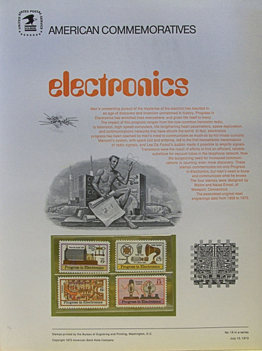 """PANEL # 18, U.S. COMMERATIVE PANEL ELECTRONICS.., ISSUED 6/10/1973 SCOTT #'S 1500-1502 & C86, PRINTED ON HEAVY PAPER MEASURING 8  1/2""""  X  11  1/4"""" WITH 4 UNUSED STAMPS A 6, 8, 15 & 11 CENT  PANELS ISSUED BY U.S. BUREAU OF ENGRAVING REPRESENT MANY HISTORICAL EVENTS IN OUR COUNTRY PLUS CULTURAL, WILDLIFE, FLORAL, MUSICAL, MOVIES AND COUNTLESS OTHER SUBJECTS, GREAT FOR  COLLECTORS AND ENTHUSIAST OF A WIDE VARIETY OF INTEREST. GREAT TO FRAME FOR GIFTS! UP TO A DOZEN CAN BE SHIPPED USING PRIORITY MAIL FLAT RATE ENVELOPE, FOR THE PRICE OF ONE (REFUND GIVEN AFTER PANELS ARE SHIPPED TAKES 3-4 DAYS FOR REFUND TO REACH YOUR CARD) OR YOU CAN SEND ONE OR MORE, FIRST CLASS (NOT INSURED) FOR LESS, YOUR CHOICE."""