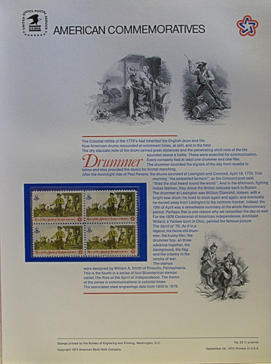 """PANEL # 23, U.S. COMMERATIVE PANEL DRUMMER.., ISSUED 9/28/1973 SCOTT # 1479 PRINTED ON HEAVY PAPER MEASURING 8  1/2""""  X  11  1/4"""" WITH 4 UNUSED REVOLUTIONARY WAR DRUMMER 8 CENT STAMPS PANELS ISSUED BY U.S. BUREAU OF ENGRAVING REPRESENT MANY HISTORICAL EVENTS IN OUR COUNTRY PLUS CULTURAL, WILDLIFE, FLORAL, MUSICAL, MOVIES AND COUNTLESS OTHER SUBJECTS, GREAT FOR  COLLECTORS AND ENTHUSIAST OF A WIDE VARIETY OF INTEREST. GREAT TO FRAME FOR GIFTS! UP TO A DOZEN CAN BE SHIPPED USING PRIORITY MAIL FLAT RATE ENVELOPE, FOR THE PRICE OF ONE (REFUND GIVEN AFTER PANELS ARE SHIPPED TAKES 3-4 DAYS FOR REFUND TO REACH YOUR CARD) OR YOU CAN SEND ONE OR MORE, FIRST CLASS (NOT INSURED) FOR LESS, YOUR CHOICE."""