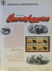 "PANEL # 24, U.S. COMMERATIVE PANEL ANGUS CATTLE.., ISSUED 10/5/1973 SCOTT # 1504 PRINTED ON HEAVY PAPER MEASURING 8  1/2""  X  11  1/4"" WITH 4 UNUSED RURAL, ANGUS CATTLE 8 CENT STAMPS PANELS ISSUED BY U.S. BUREAU OF ENGRAVING REPRESENT MANY HISTORICAL EVENTS IN OUR COUNTRY PLUS CULTURAL, WILDLIFE, FLORAL, MUSICAL, MOVIES AND COUNTLESS OTHER SUBJECTS, GREAT FOR  COLLECTORS AND ENTHUSIAST OF A WIDE VARIETY OF INTEREST.  GREAT TO FRAME FOR GIFTS! UP TO A DOZEN CAN BE SHIPPED USING PRIORITY MAIL FLAT RATE ENVELOPE, FOR THE PRICE OF ONE (REFUND GIVEN AFTER PANELS ARE SHIPPED TAKES 3-4 DAYS FOR REFUND TO REACH YOUR CARD) OR YOU CAN SEND ONE OR MORE, FIRST CLASS (NOT INSURED) FOR LESS, YOUR CHOICE."