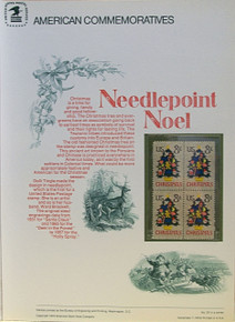"""PANEL # 26, U.S. COMMERATIVE PANEL CHRISTMAS NEEDLEPOINT '73.., ISSUED 11/7/1973 SCOTT # 1508 PRINTED ON HEAVY PAPER MEASURING 8  1/2""""  X  11  1/4"""" WITH 4 UNUSED CHRISTMAS NEEDLEPOINT '73  8 CENT STAMPS PANELS ISSUED BY U.S. BUREAU OF ENGRAVING REPRESENT MANY HISTORICAL EVENTS IN OUR COUNTRY PLUS CULTURAL, WILDLIFE, FLORAL, MUSICAL, MOVIES AND COUNTLESS OTHER SUBJECTS, GREAT FOR  COLLECTORS AND ENTHUSIAST OF A WIDE VARIETY OF INTEREST. GREAT TO FRAME FOR GIFTS! UP TO A DOZEN CAN BE SHIPPED USING PRIORITY MAIL FLAT RATE ENVELOPE, FOR THE PRICE OF ONE (REFUND GIVEN AFTER PANELS ARE SHIPPED TAKES 3-4 DAYS FOR REFUND TO REACH YOUR CARD) OR YOU CAN SEND ONE OR MORE, FIRST CLASS (NOT INSURED) FOR LESS, YOUR CHOICE."""