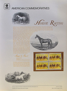 """PANEL # 30, U.S. COMMERATIVE PANEL HORSE RACING., ISSUED 5/4/1974 SCOTT # 1528 PRINTED ON HEAVY PAPER MEASURING 8  1/2""""  X  11  1/4"""" WITH 4 HORCE RACING  10 CENT STAMPS PANELS ISSUED BY U.S. BUREAU OF ENGRAVING REPRESENT MANY HISTORICAL EVENTS IN OUR COUNTRY PLUS CULTURAL, WILDLIFE, FLORAL, MUSICAL, MOVIES AND COUNTLESS OTHER SUBJECTS, GREAT FOR  COLLECTORS AND ENTHUSIAST OF A WIDE VARIETY OF INTEREST. GREAT TO FRAME FOR GIFTS! UP TO A DOZEN CAN BE SHIPPED USING PRIORITY MAIL FLAT RATE ENVELOPE, FOR THE PRICE OF ONE (REFUND GIVEN AFTER PANELS ARE SHIPPED TAKES 3-4 DAYS FOR REFUND TO REACH YOUR CARD) OR YOU CAN SEND ONE OR MORE, FIRST CLASS (NOT INSURED) FOR LESS, YOUR CHOICE."""