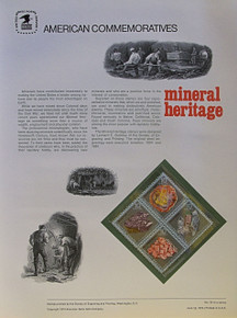 """PANEL # 33, U.S. COMMERATIVE PANEL MINERAL HERITAGE.., ISSUED 6/13/1974 SCOTT # 1541a PRINTED ON HEAVY PAPER MEASURING 8  1/2""""  X  11  1/4"""" WITH 4 DIFFERENT DIAMOND SHAPED MINERAL 10 CENT STAMPS PANELS ISSUED BY U.S. BUREAU OF ENGRAVING REPRESENT MANY HISTORICAL EVENTS IN OUR COUNTRY PLUS CULTURAL, WILDLIFE, FLORAL, MUSICAL, MOVIES AND COUNTLESS OTHER SUBJECTS, GREAT FOR  COLLECTORS AND ENTHUSIAST OF A WIDE VARIETY OF INTEREST. GREAT TO FRAME FOR GIFTS! UP TO A DOZEN CAN BE SHIPPED USING PRIORITY MAIL FLAT RATE ENVELOPE, FOR THE PRICE OF ONE (REFUND GIVEN AFTER PANELS ARE SHIPPED TAKES 3-4 DAYS FOR REFUND TO REACH YOUR CARD) OR YOU CAN SEND ONE OR MORE, FIRST CLASS (NOT INSURED) FOR LESS, YOUR CHOICE."""
