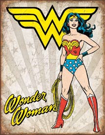 """WONDER WOMAN HEROIC Tin Sign measures 12 1/2"""" x 16"""" with holes in each corner for easy mounting."""