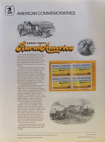 "PANEL # 37, U.S. COMMERATIVE PANEL KANSAS WHEAT, RURAL AMERICAN.., ISSUED 8/16/1974 SCOTT # 1506 PRINTED ON HEAVY PAPER MEASURING 8  1/2""  X  11  1/4"" WITH 4 KANSAS WHEAT, RURAL AMERICA 10 CENT STAMPS PANELS ISSUED BY U.S. BUREAU OF ENGRAVING REPRESENT MANY HISTORICAL EVENTS IN OUR COUNTRY PLUS CULTURAL, WILDLIFE, FLORAL, MUSICAL, MOVIES AND COUNTLESS OTHER SUBJECTS, GREAT FOR  COLLECTORS AND ENTHUSIAST OF A WIDE VARIETY OF INTEREST.  GREAT TO FRAME FOR GIFTS! UP TO A DOZEN CAN BE SHIPPED USING PRIORITY MAIL FLAT RATE ENVELOPE, FOR THE PRICE OF ONE (REFUND GIVEN AFTER PANELS ARE SHIPPED TAKES 3-4 DAYS FOR REFUND TO REACH YOUR CARD) OR YOU CAN SEND ONE OR MORE, FIRST CLASS (NOT INSURED) FOR LESS, YOUR CHOICE."