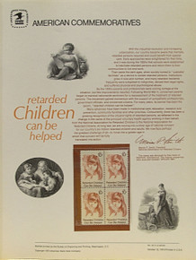 "PANEL # 40, U.S. COMMERATIVE PANEL RETARDED CHILDREN.., ISSUED 10/12/1974 SCOTT # 1549 PRINTED ON HEAVY PAPER MEASURING 8  1/2""  X  11  1/4"" WITH 4 RETARDED CHILDREN 10 CENT STAMPS PANELS ISSUED BY U.S. BUREAU OF ENGRAVING REPRESENT MANY HISTORICAL EVENTS IN OUR COUNTRY PLUS CULTURAL, WILDLIFE, FLORAL, MUSICAL, MOVIES AND COUNTLESS OTHER SUBJECTS, GREAT FOR  COLLECTORS AND ENTHUSIAST OF A WIDE VARIETY OF INTEREST.  GREAT TO FRAME FOR GIFTS! UP TO A DOZEN CAN BE SHIPPED USING PRIORITY MAIL FLAT RATE ENVELOPE, FOR THE PRICE OF ONE (REFUND GIVEN AFTER PANELS ARE SHIPPED TAKES 3-4 DAYS FOR REFUND TO REACH YOUR CARD) OR YOU CAN SEND ONE OR MORE, FIRST CLASS (NOT INSURED) FOR LESS, YOUR CHOICE."