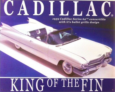 """Photo of CADILLAC """"KING OF THE FIN"""" METAL SIGN"""