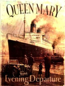 """VINTAGE ENAMEL SIGN OF THE QUEEN MARY SHIP.  DEEP RICH COLORS AND GREAT DETAIL, THIS SIGN MEASURES 12"""" X 16"""" WITH HOLES IN EACH CORNER FOR EASY MOUNTING"""