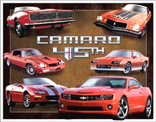 Photo of CAMARO 45TH ANNIVERSARY SIGN, FROM THE FIRST TO TODAY, SIX DIFFERENT BODY STYLES ON THIS SIGN