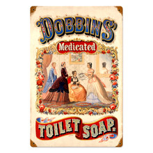 """Victorian Era Medicated Soap Ad Sublimation Process on Heavy Metal, has holes in each corner for easy mounting. Sign Measures 12"""" x 18"""" and weighs apox. 2 pounds.  Great color and fine details."""