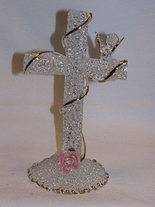 """GLASS SCULPTED CROSS WITH DOVE & FLOWER 22K GOLD TRIM 2 7/8"""" X 2 7/8"""" X 6""""  HAND CRAFTED & HAND PAINTED"""
