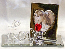 """LOVE W/HEART & PICTURE FRAME ON MIRROR 4 1/2"""" X 2 1/8"""" X 2 7/8"""" HAND CRAFTED & HAND PAINTED W/ BRASS PICTURE FRAME"""