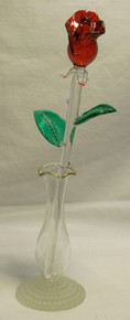 """RED GLASS ROSE & VASE 22K GOLD TRIM 2 1/8"""" X 2 3/4"""" X 9"""" HAND CRAFTED & HAND PAINTED"""