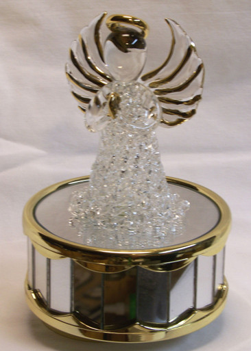 "GLASS ANGEL CAROUSEL PLAYS AMAZING GRACE  3 5/8"" X 3 5/8"" X 6"" HAND CRAFTED & HAND PAINTED"